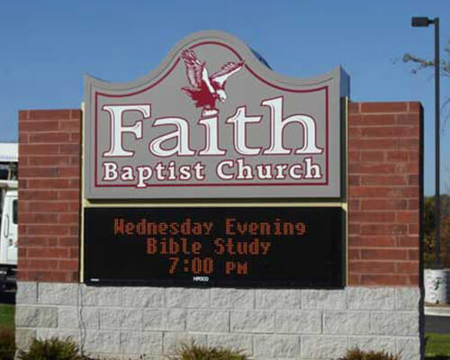 Faith Baptist Church electronic sign