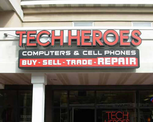 Tech Heroes building sign