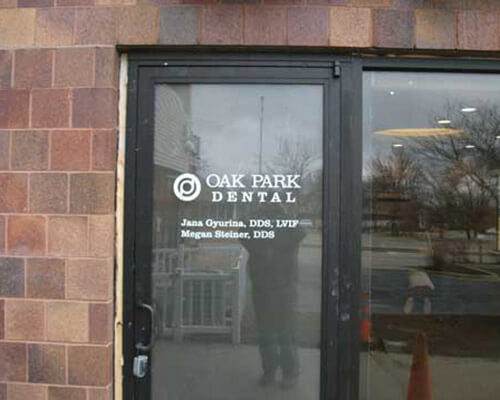Oak Park Dental window sign
