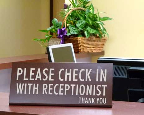 please check in sign