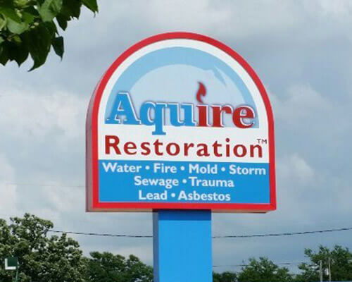 Aquire Restoration freestanding sign