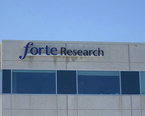 Forte Research building sign