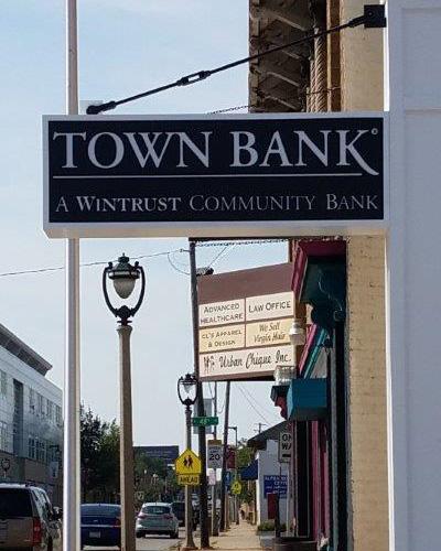 town bank sign